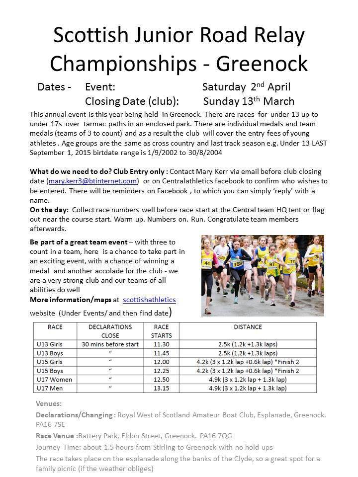 Scottish Junior Road Relay Championships - Greenock entry info