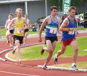 Scott Green (6) challenges in the 1500metres