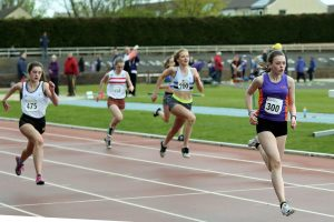 Shona McLay (300) showing fine form as she took a 200 metres win
