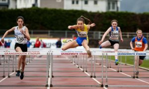 Coirilidh Cook leads the way in the hurdles