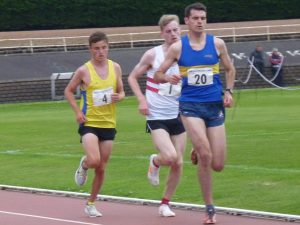 Jamie Crowe (4) set to pounce in the 1500 metres