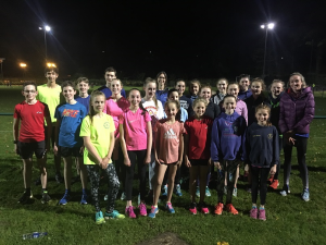 Eilish McColgan (right) with the Central training group