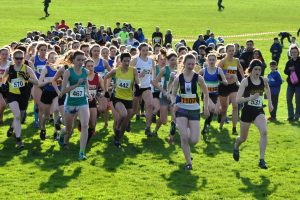 Morag MacLarty (442) and Laura Muir (531) feature at the front of a record field of 195 runners in the women's race