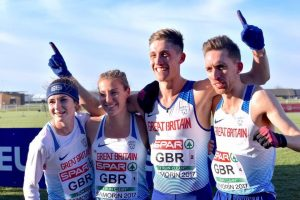 Delighted Cameron Boyek with his relay team