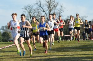 Aidan Thompson (32) and Alastair Hay (11) in the early stages of the Senior Men's race