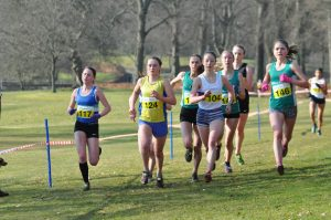 Kate Gallagher showing strongly in the Under-20 race