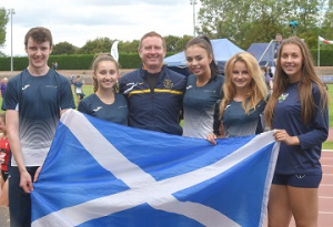 Central's Scotland team members and coach