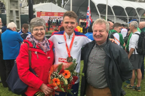 Andrew Butchart celebrates with his parents
